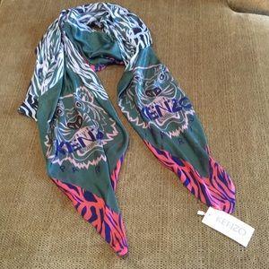 d541c51b77 KENZO Large Pink Silk Tiger Scarf NWT